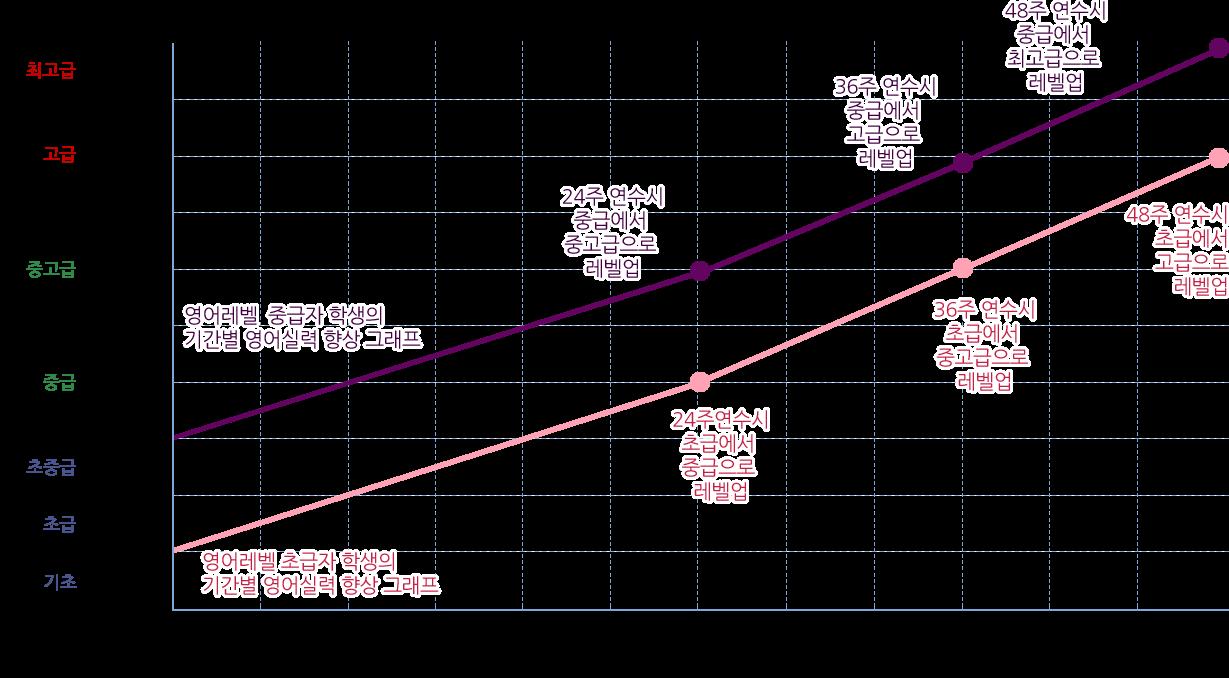 단계별 영어실력 상승 그래프